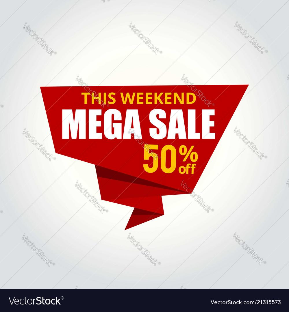 sale tag badge template 50 off sale label symbol vector image