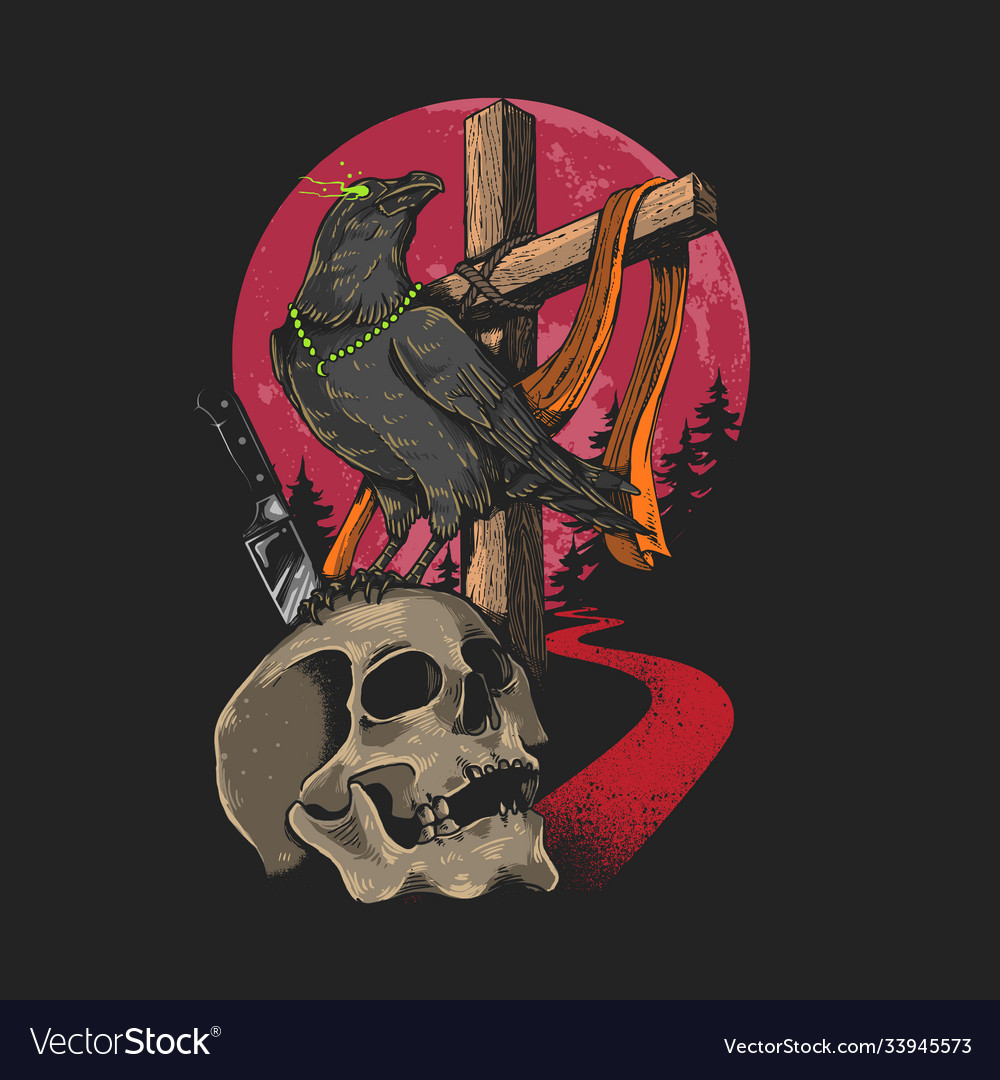 Skull and crow graphic