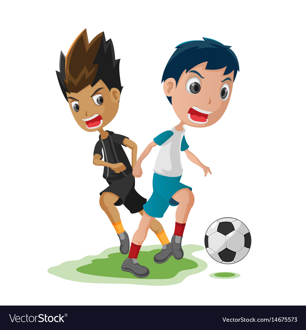 soccer player cartoon match opponent royalty free vector