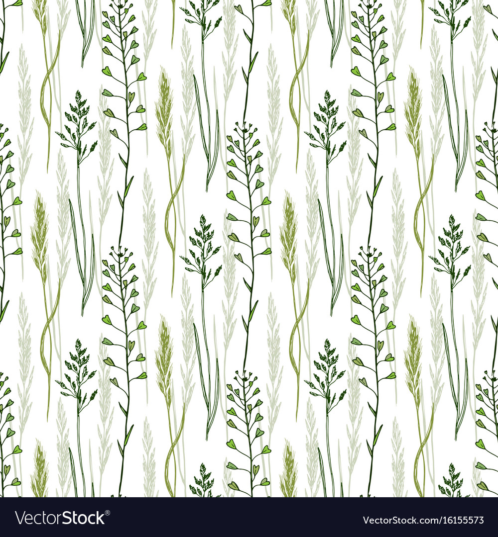 Wild flowers seamless pattern background eco
