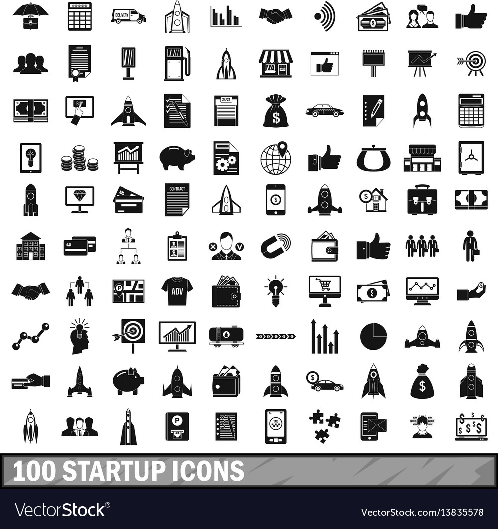 100 startup icons set simple style