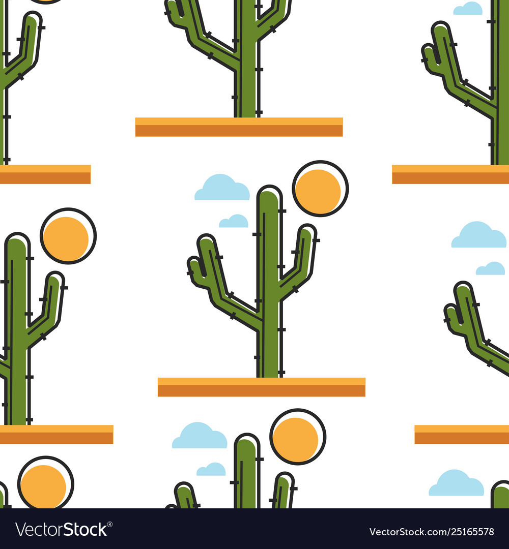 Cactus in dessert under sun seamless pattern plant