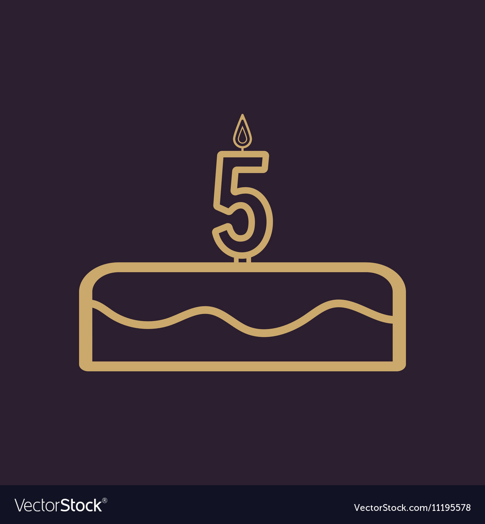Cake with candles in the form of number 5 icon