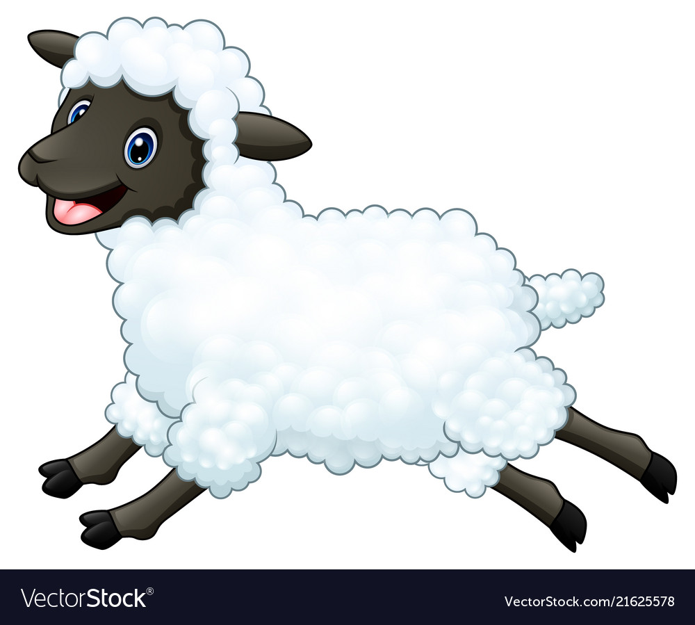 Cartoon happy sheep jumping isolated on white back