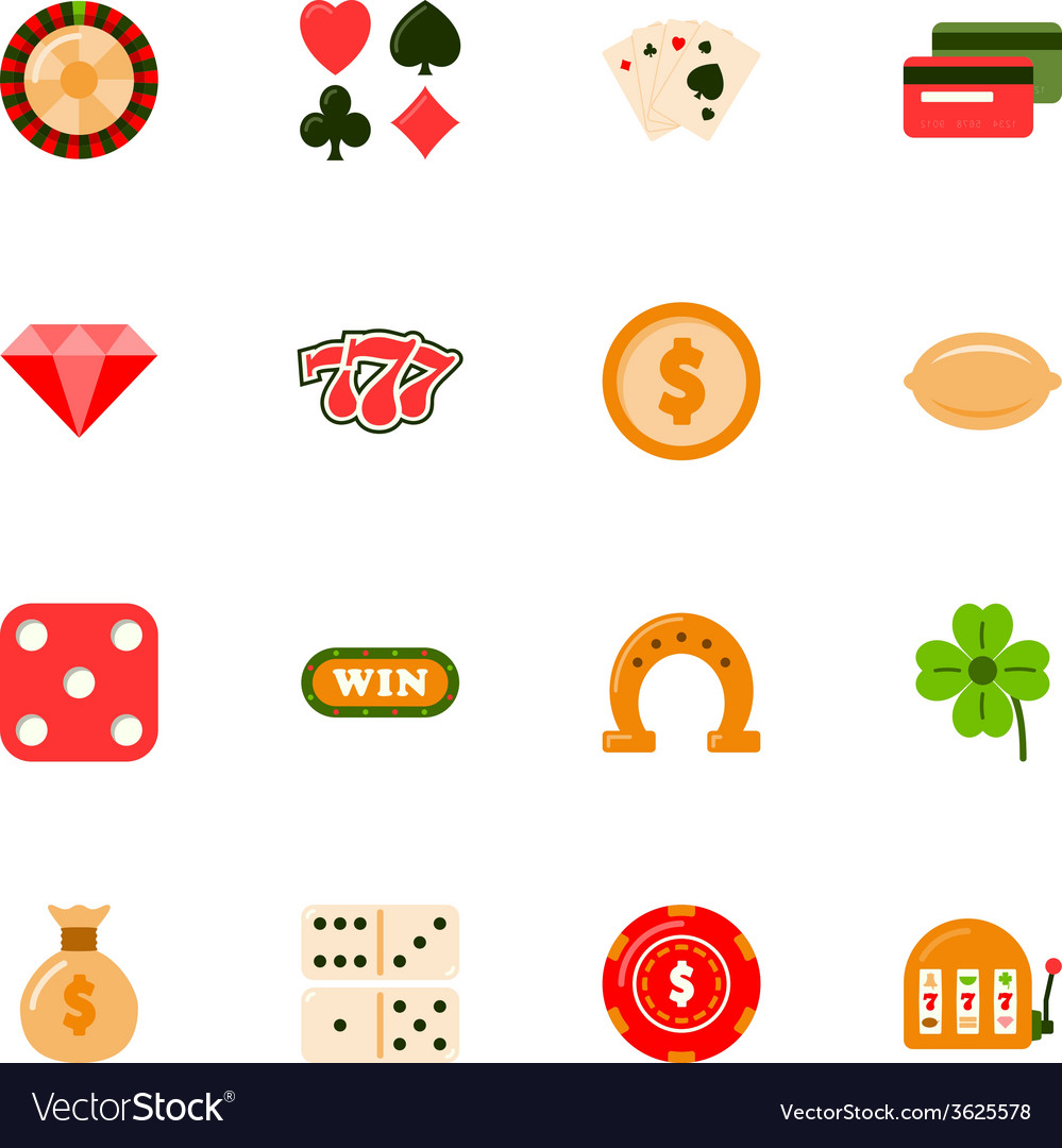 Casino flat icons set vector image