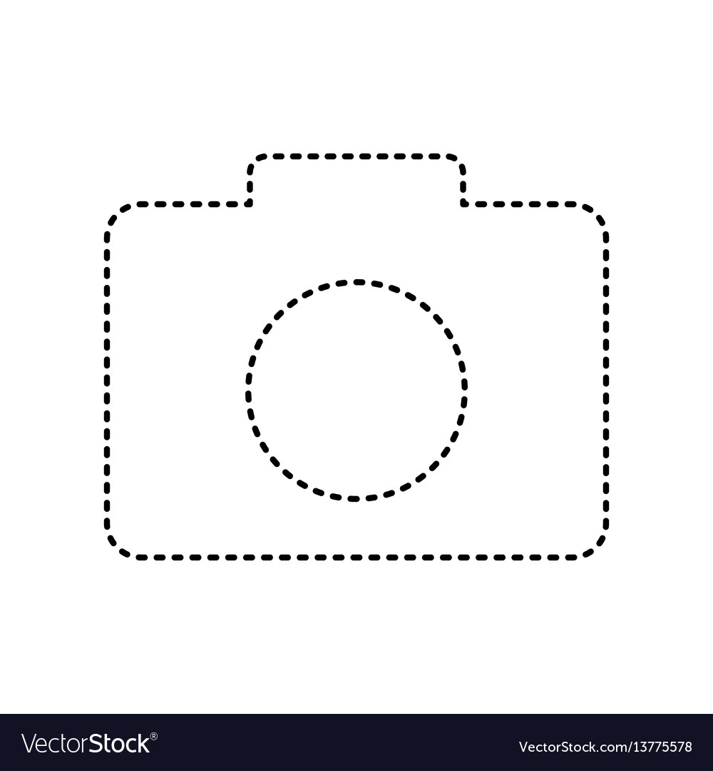 Digital camera sign black dashed icon on
