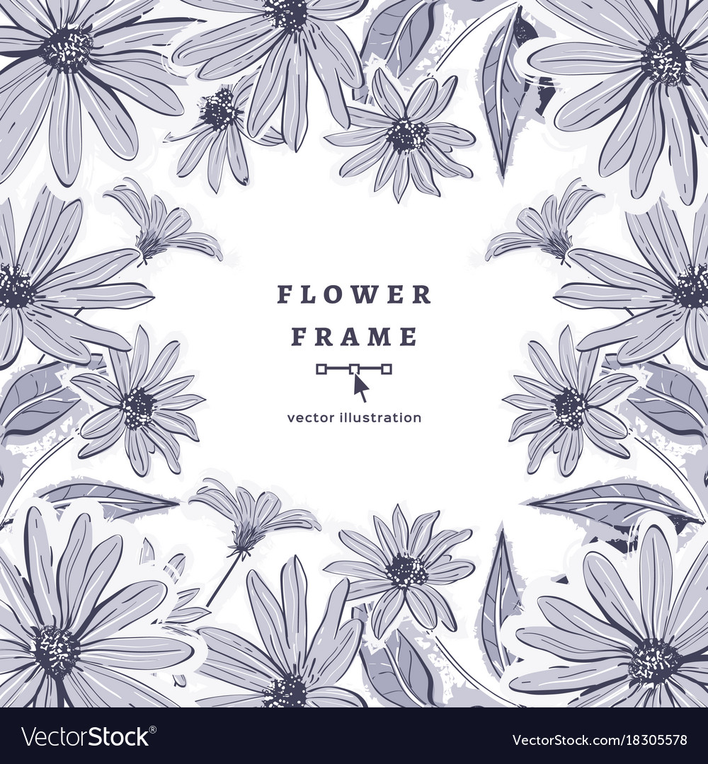 Flower frame drawing floral background