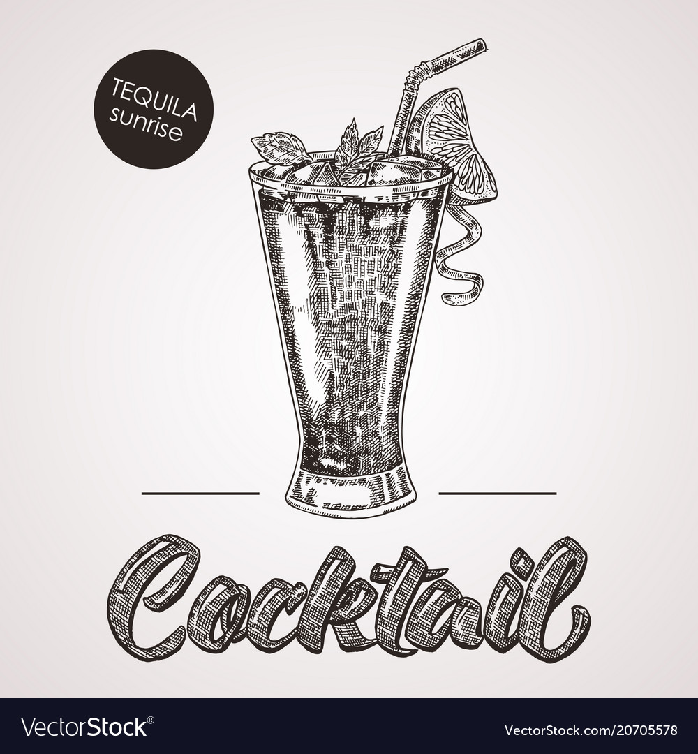 Hand drawn sketch cocktail with text