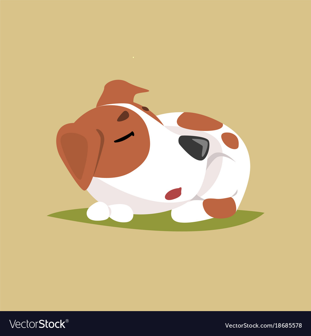 Jack russell puppy character sleeping cute funny