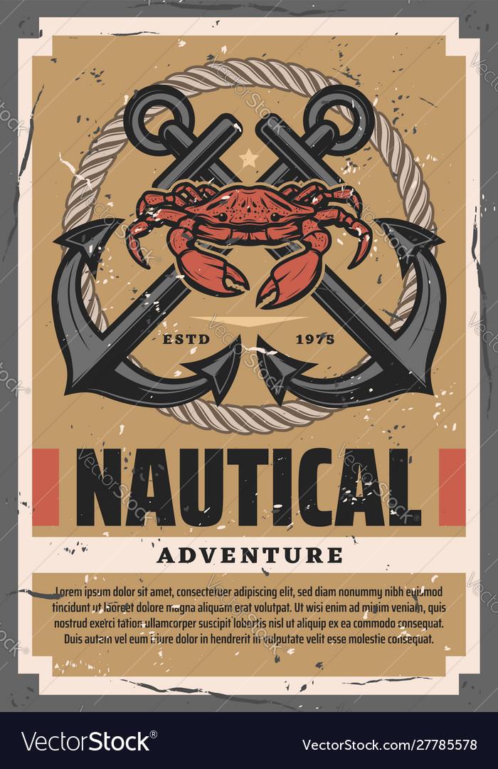 Marine adventures rope crab crossed anchors