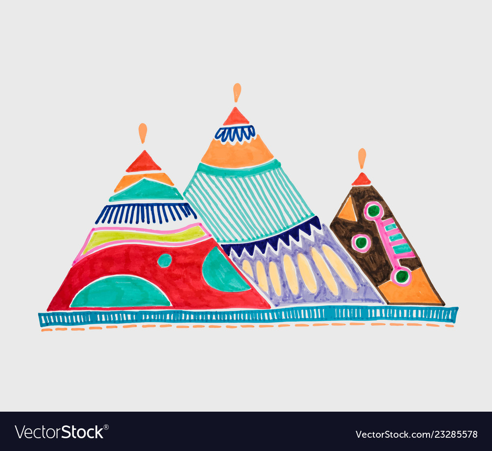 Marker sketch drawing of egyptian pyramids of giza