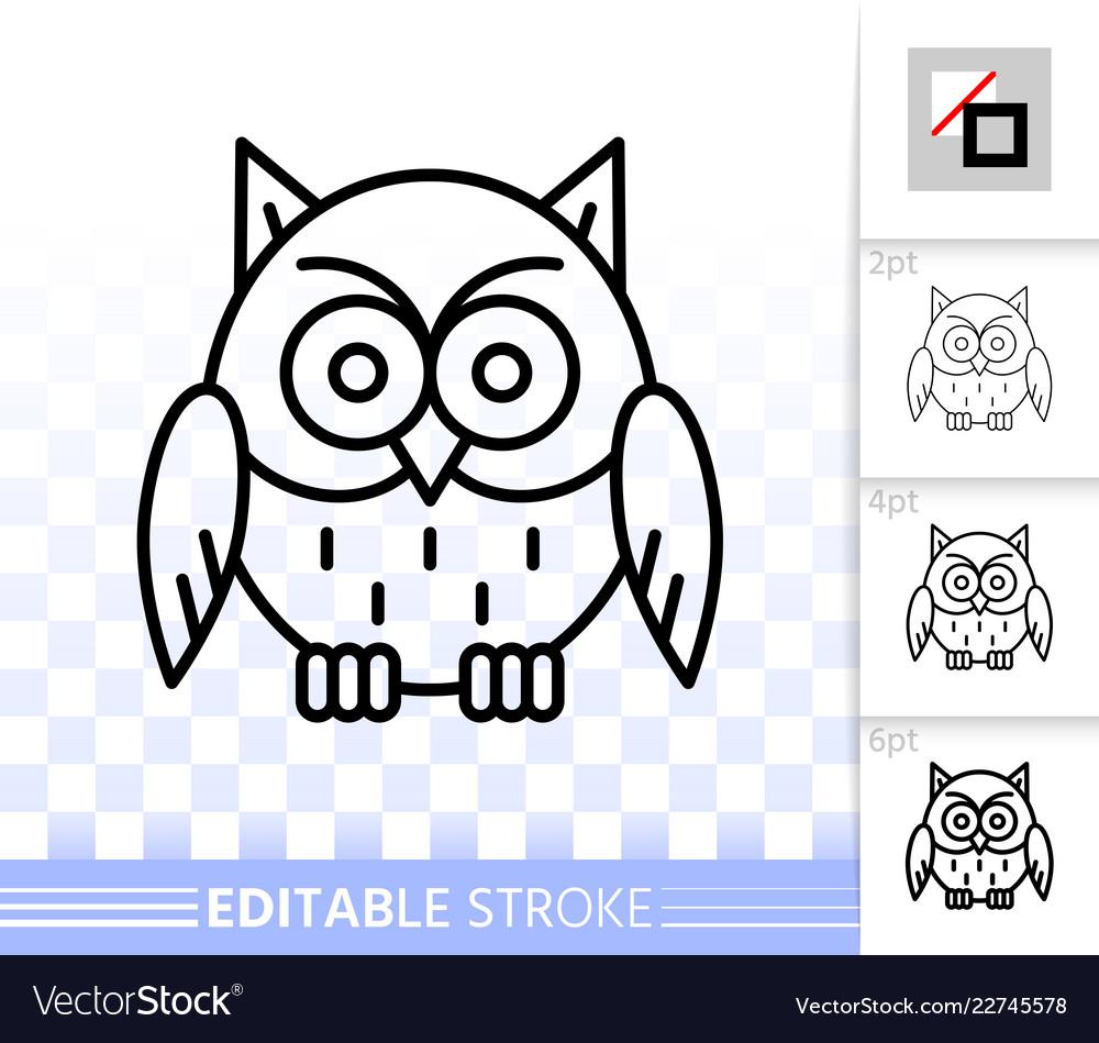 Owl simple black line halloween sign icon