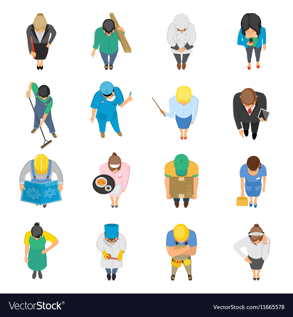 Professions Top View Colored Icons Set