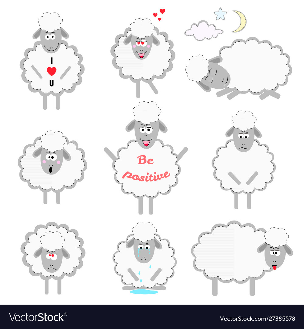 Set cartoon sheeps in different positions and