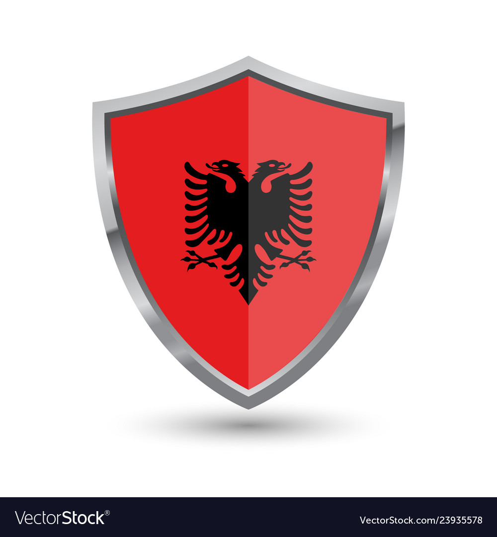 Shield with flag of albania isolated on white back