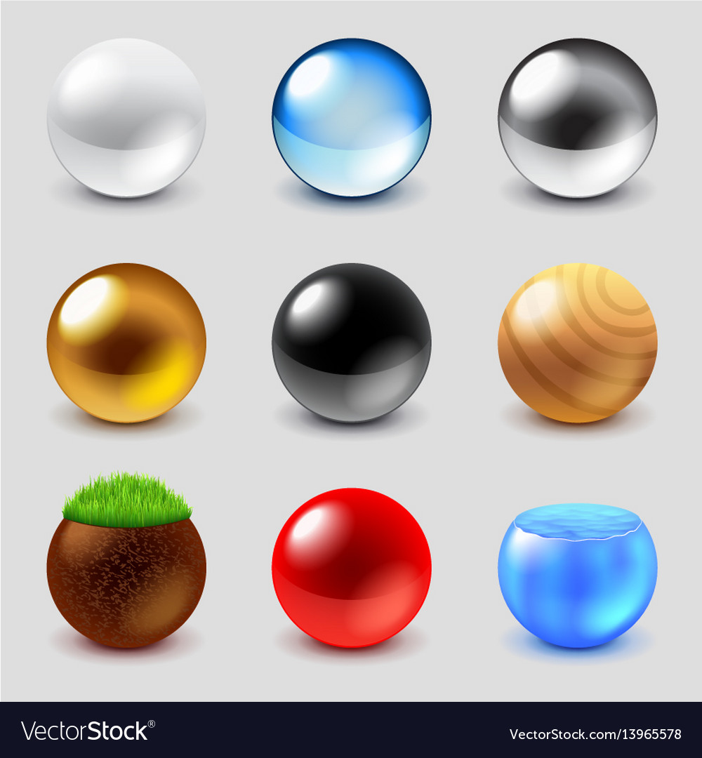 Spheres from different materials icons set