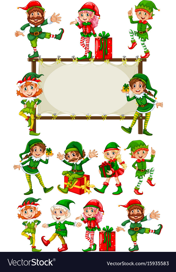 Border template with christmas elves