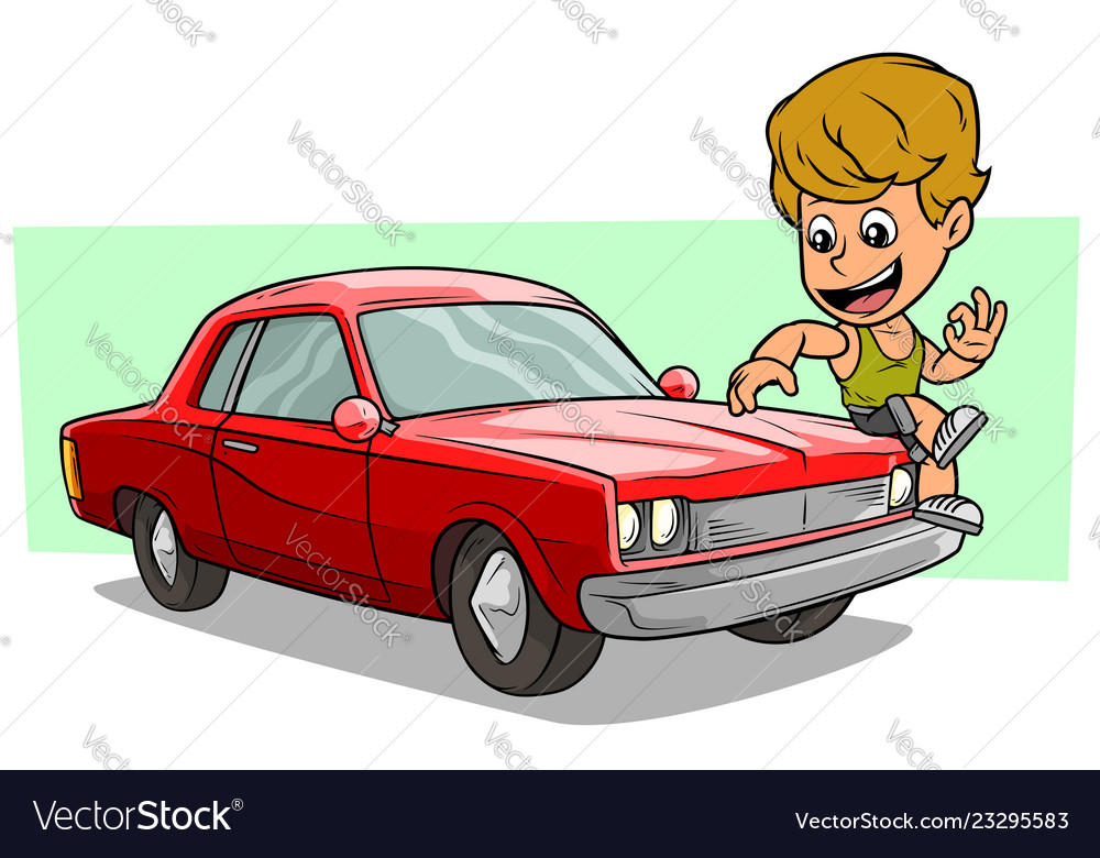 Cartoon boy character on red american retro car