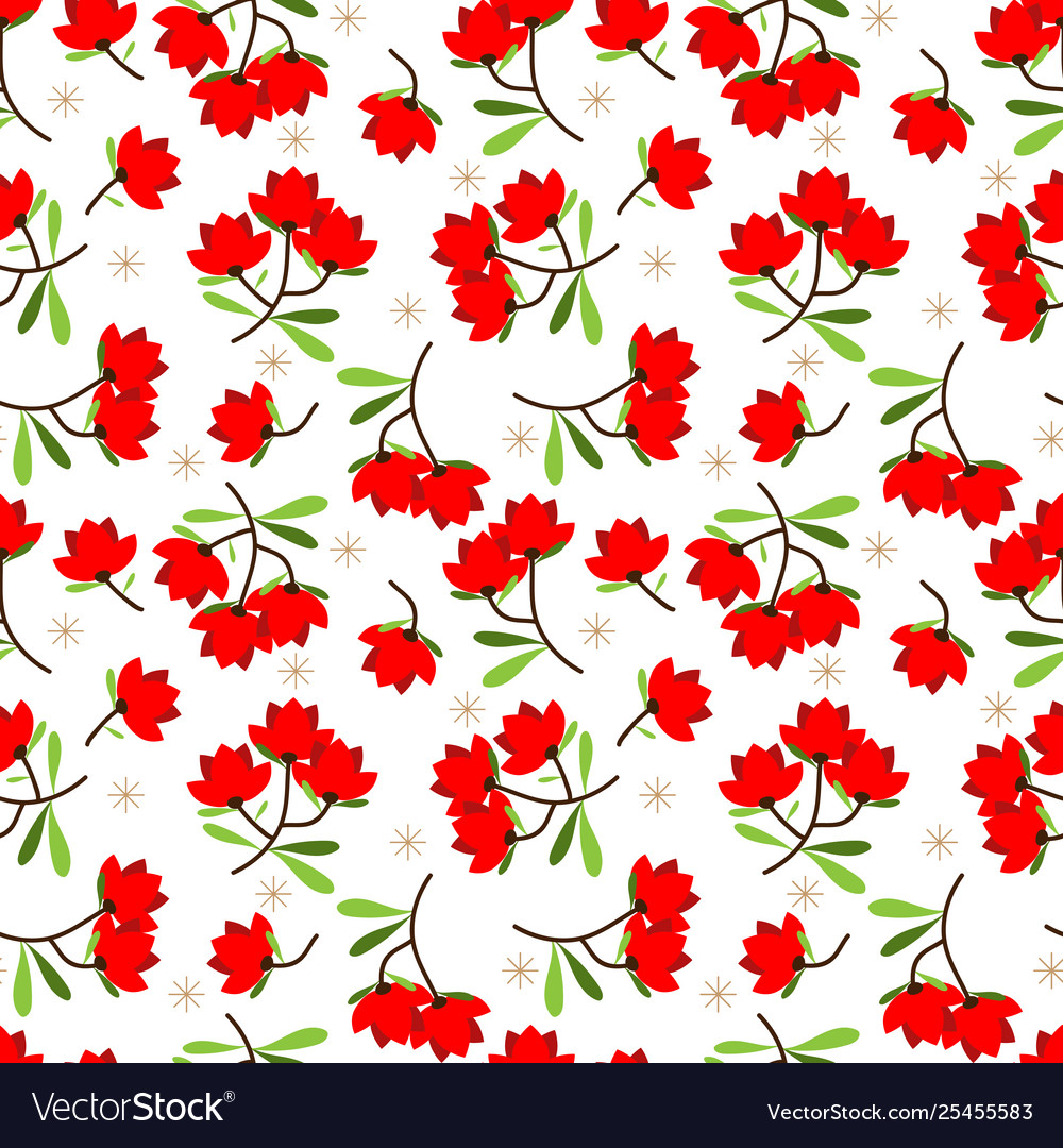 Cute flower with leaves seamless pattern