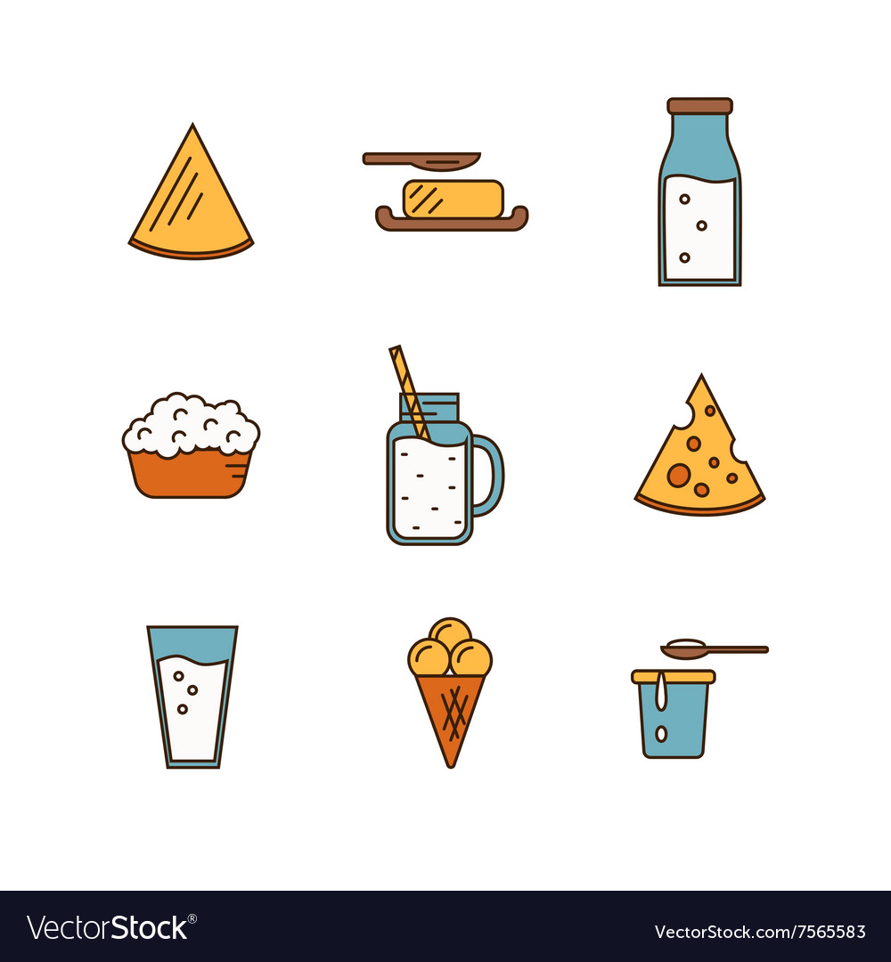 Dairy icon set in line style design