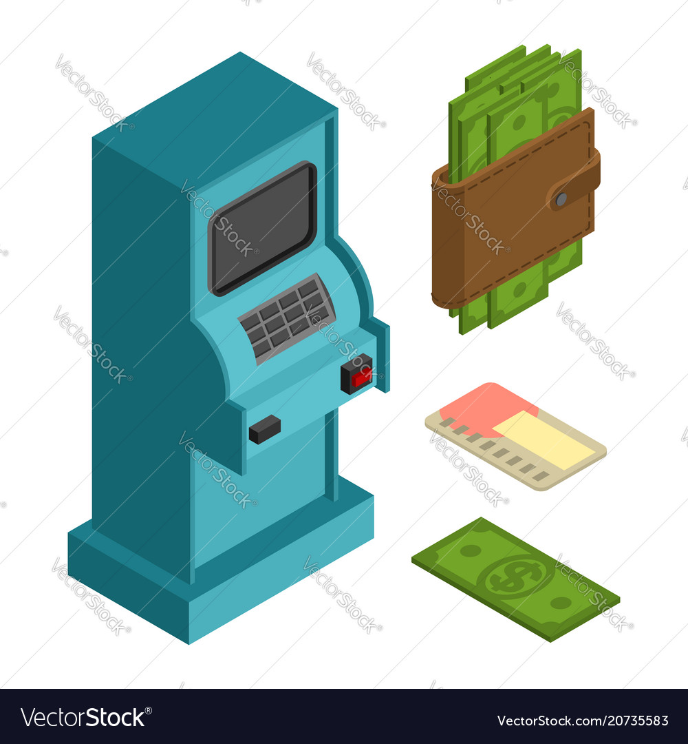 Financial icon set atm and cash money wallet and