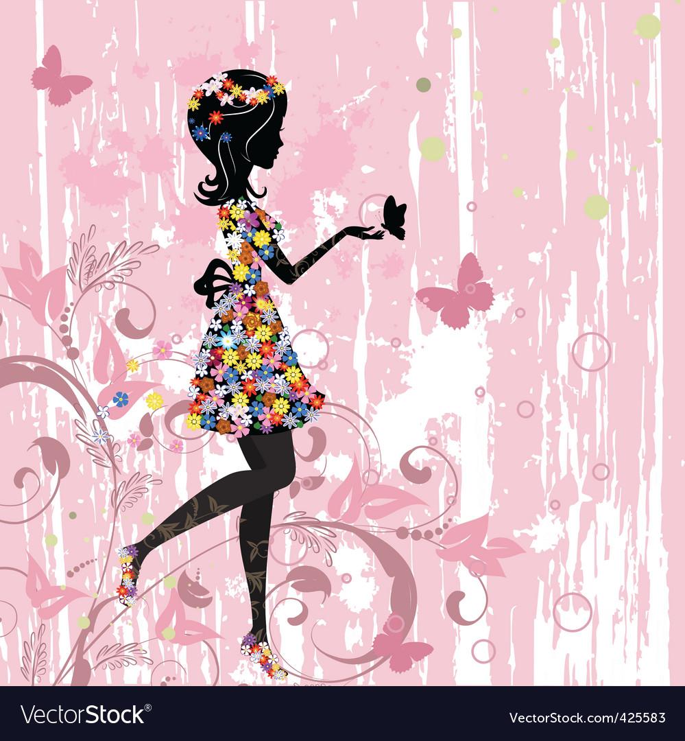 Girl flowers vector image
