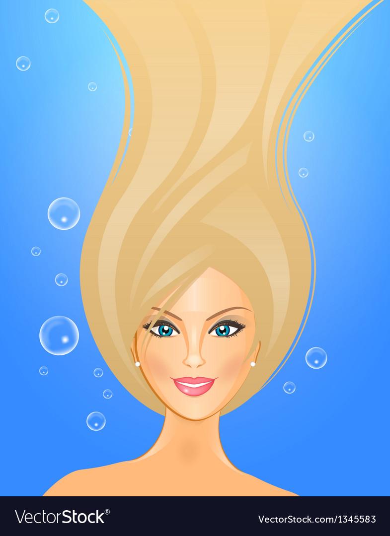 Girl underwater vector image