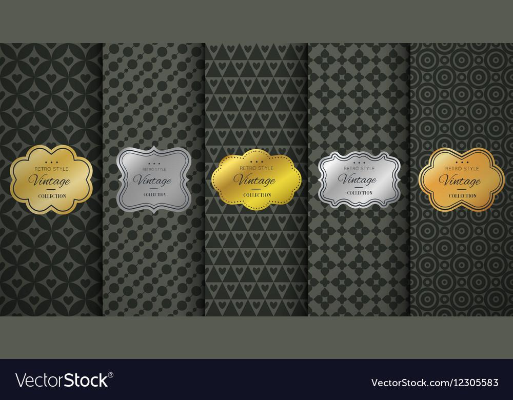 Golden vintage frame on black pattern background