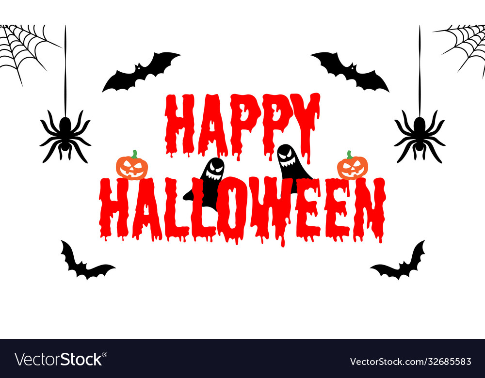 Happy halloween text banner greeting card
