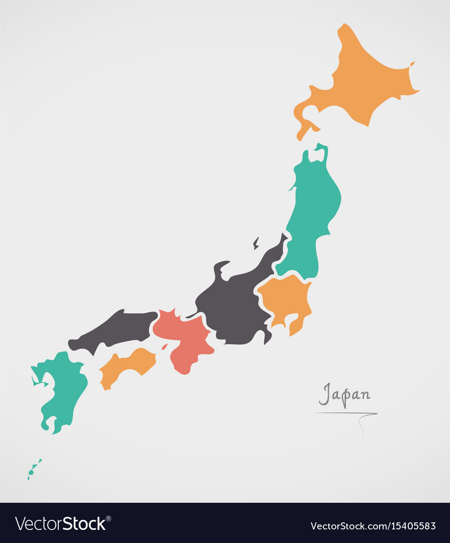 Japan Map With States And Modern Round Shapes