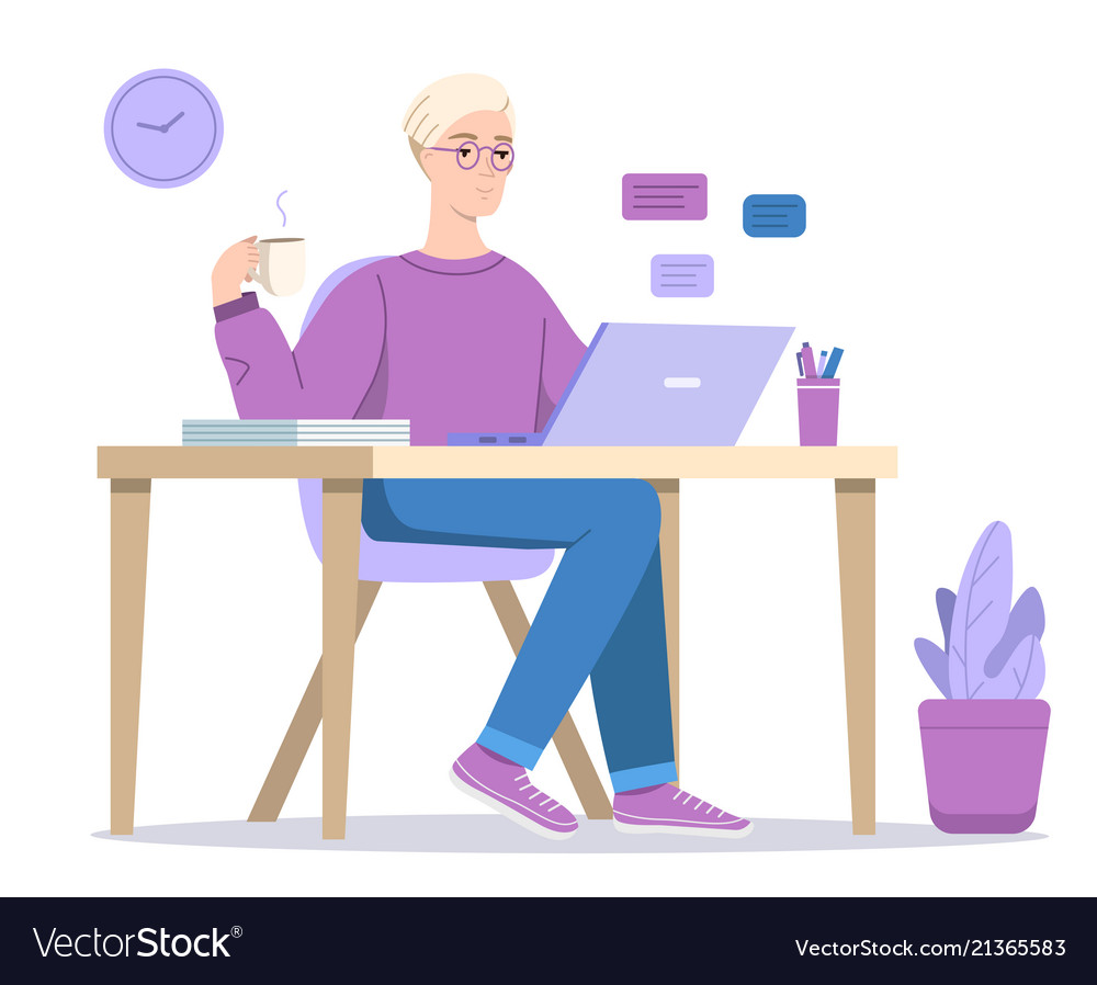 Man or boy texting in computer