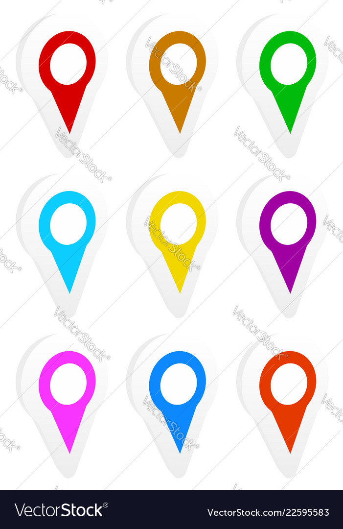 Map marker map pin icon set in 9 colors