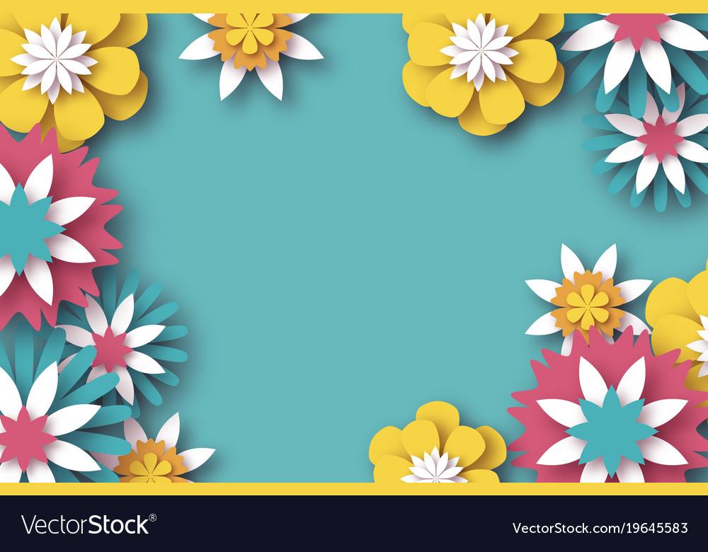 Paper cut floral greeting card origami flower vector image mightylinksfo