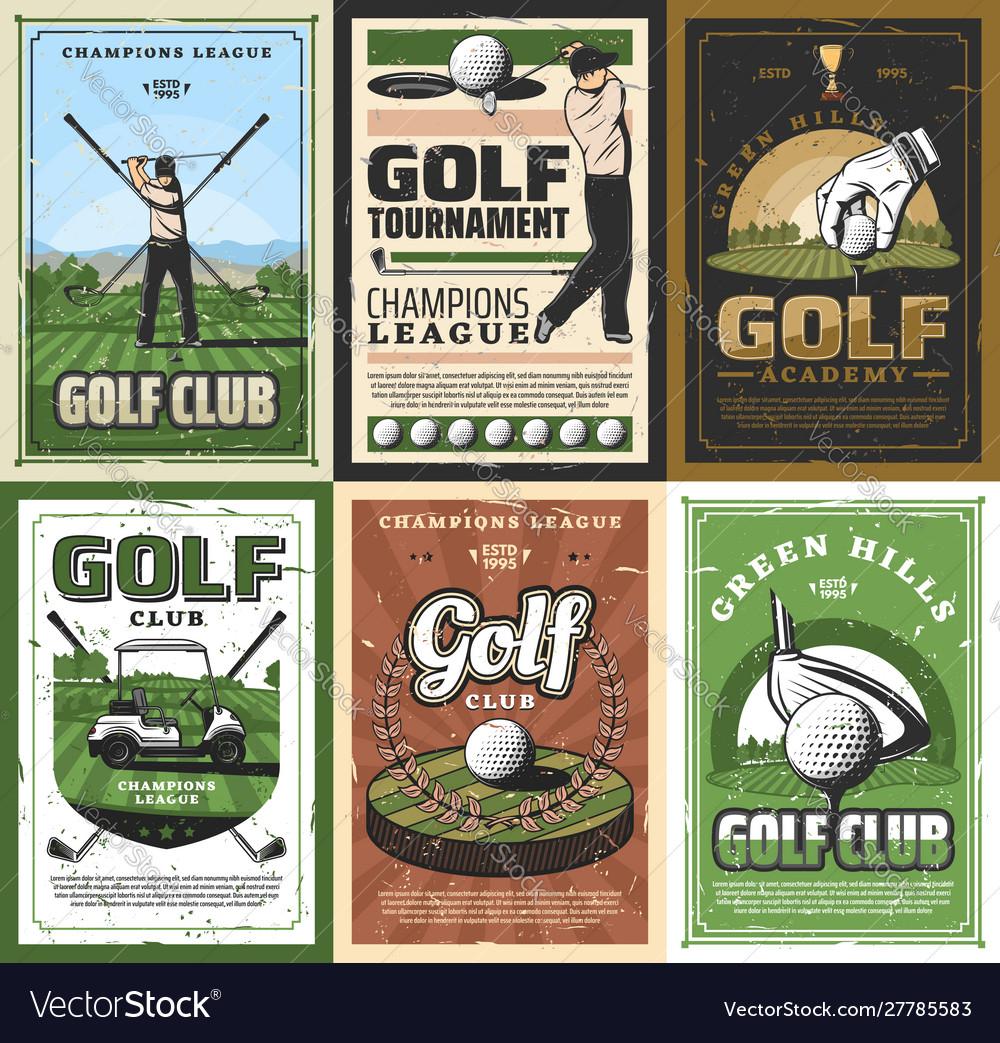 Retro golf club golfing sport equipment and player