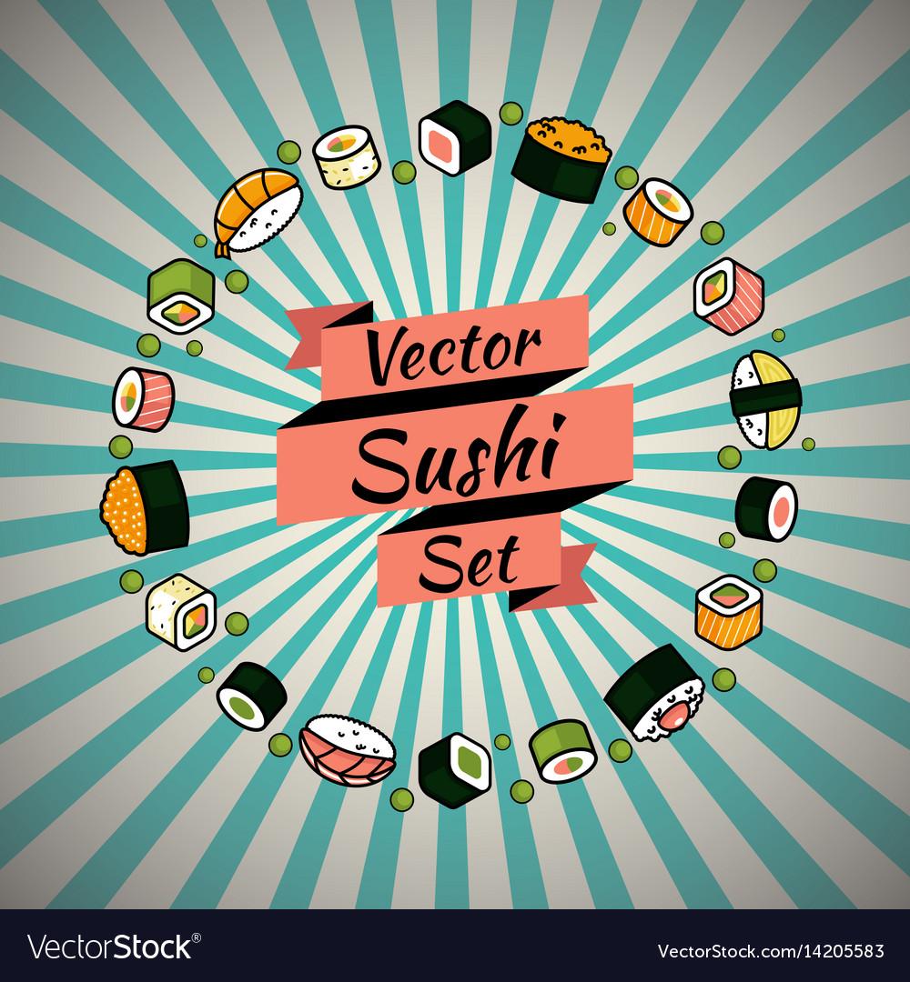 Rounded sushi set