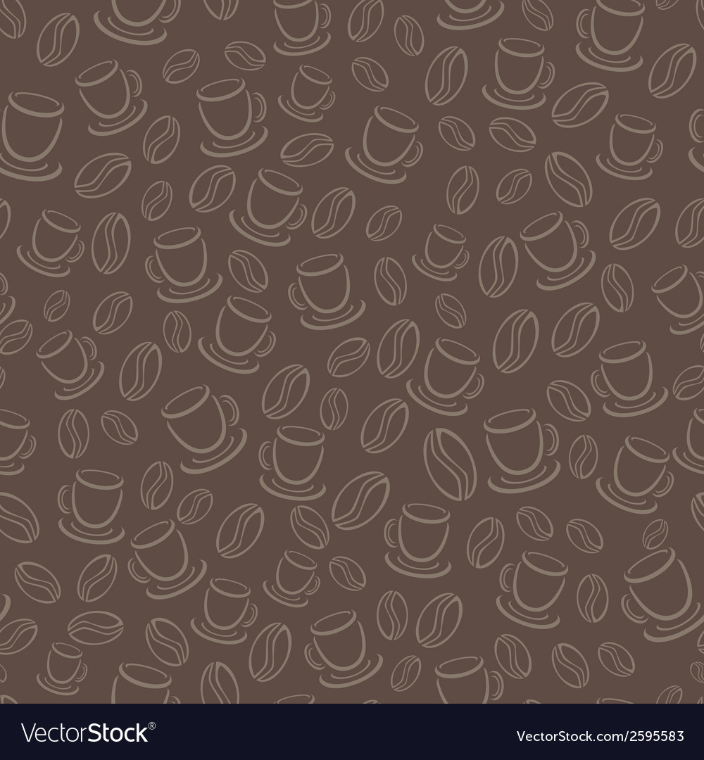 Seamless brown pattern with coffee beans and cups