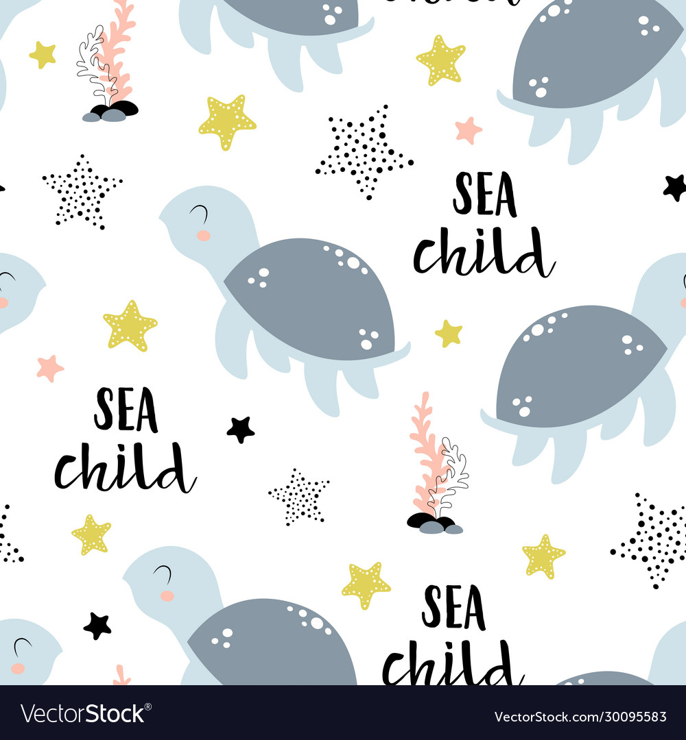 Seamless pattern with cute turtle isolated on