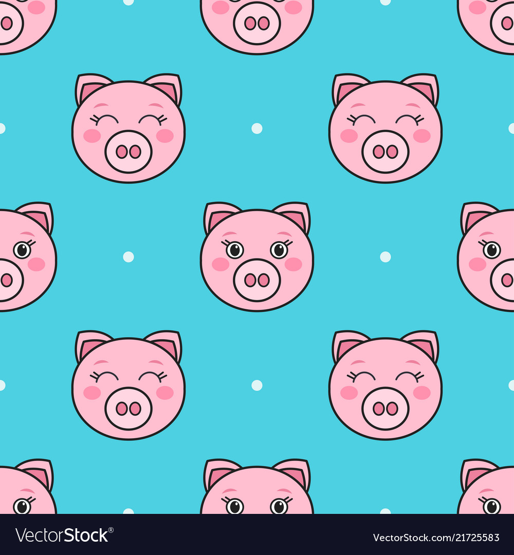 Seamless pattern with pink cartoon funny pigs