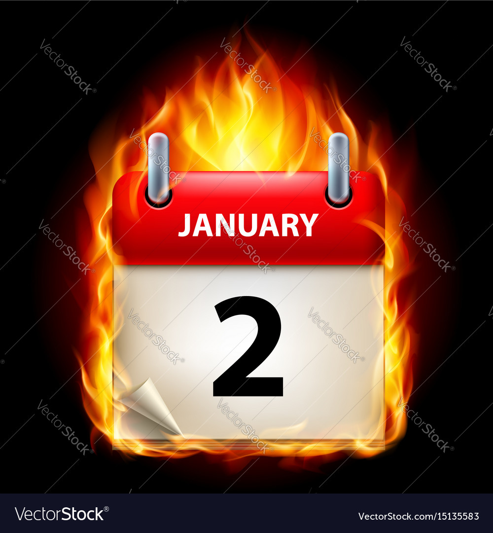 Second january in calendar burning icon on black