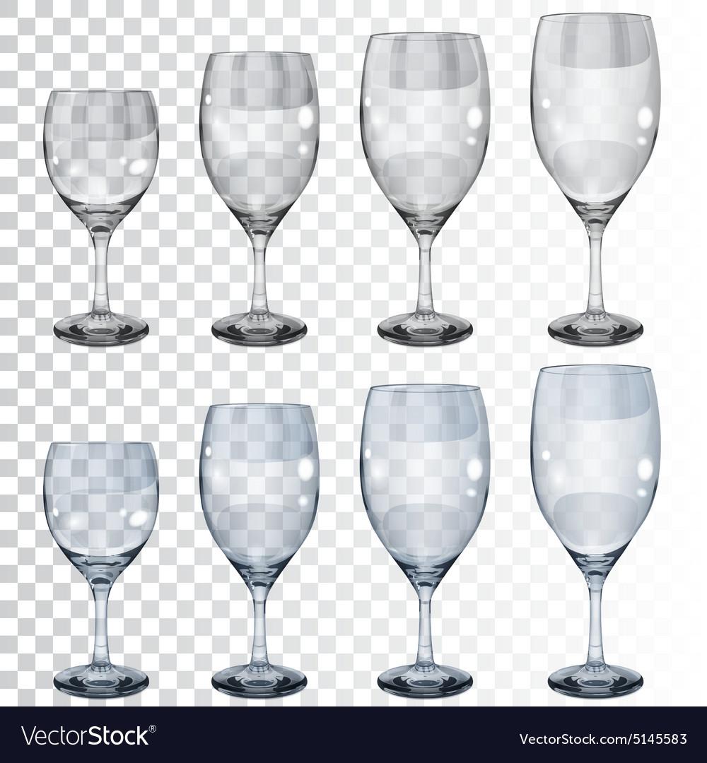 Set of empty transparent glass goblets for wine vector image