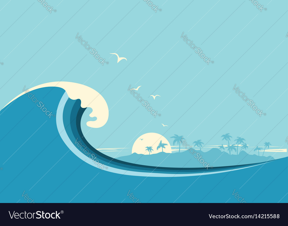 Big ocean wave and tropical island blue background