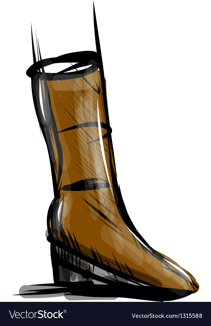 Boot fast drawing sketch vector image