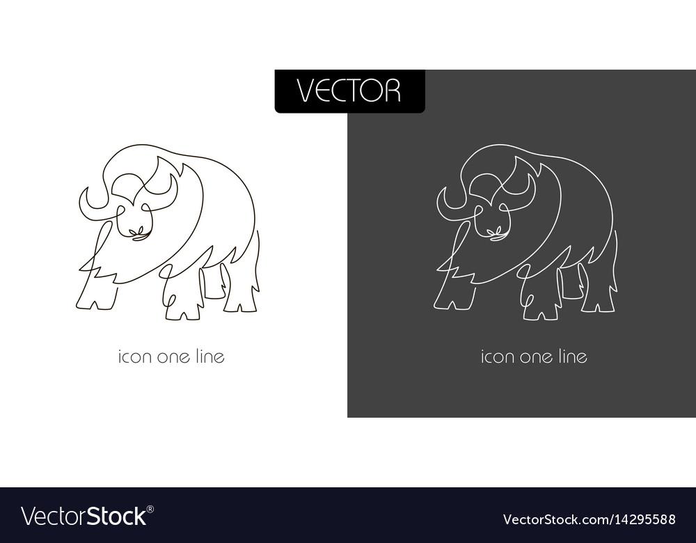 Buffalo icon on white and black