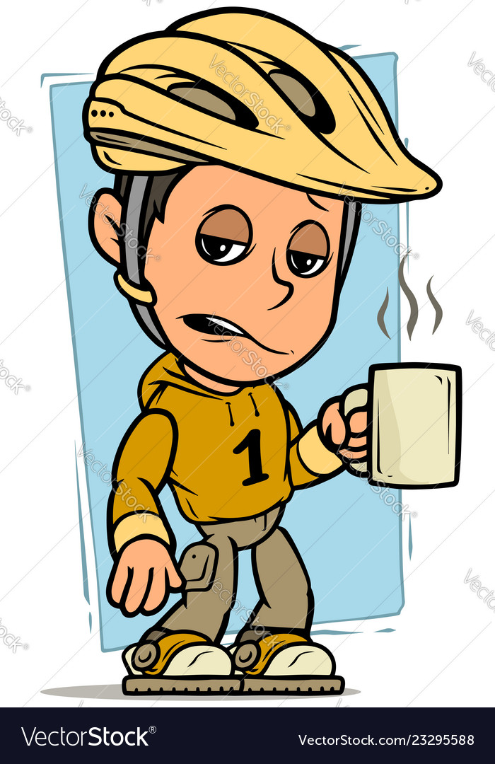 Cartoon cyclist boy character with cup of coffee