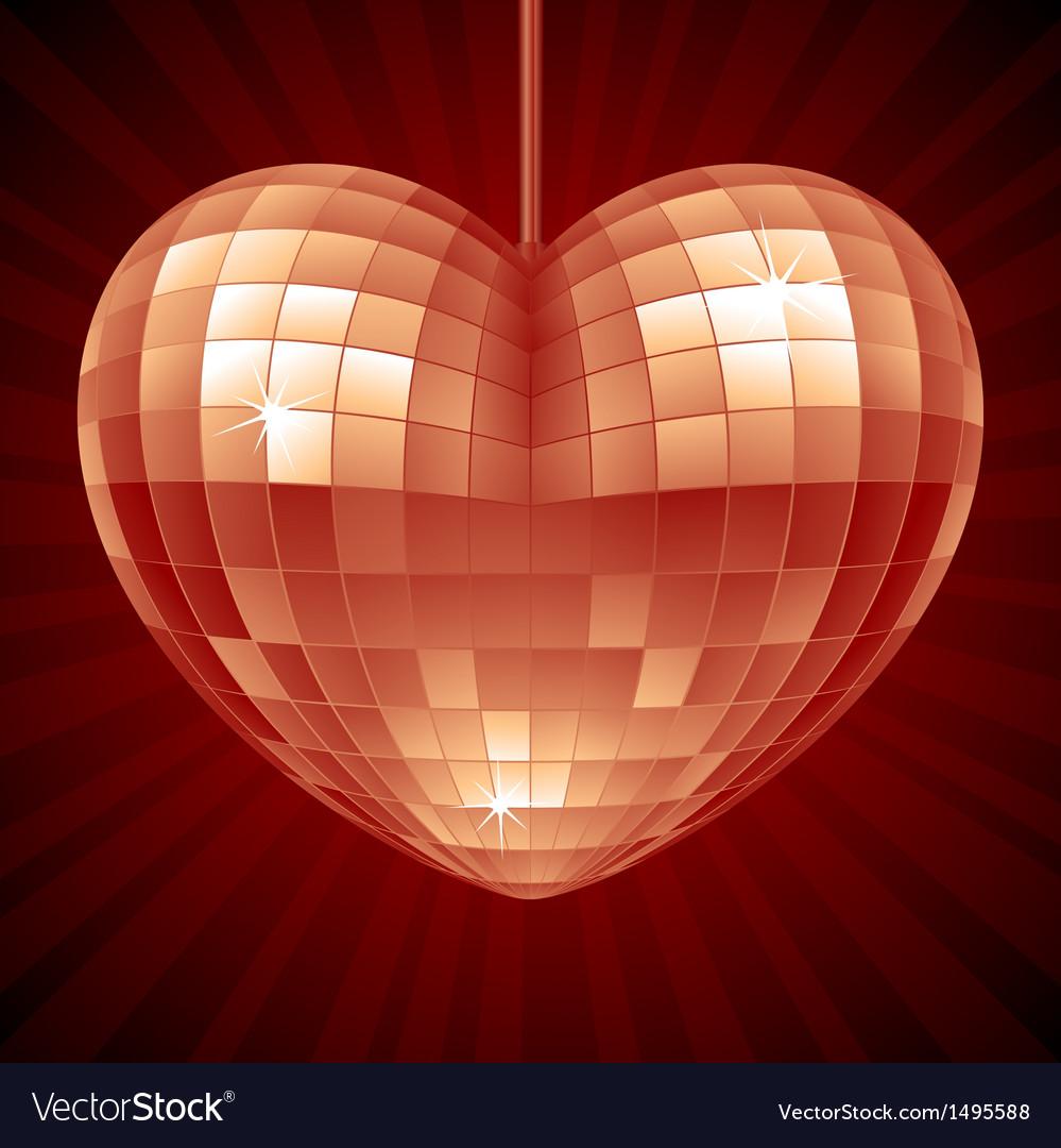Disco Heart Red mirror disco ball