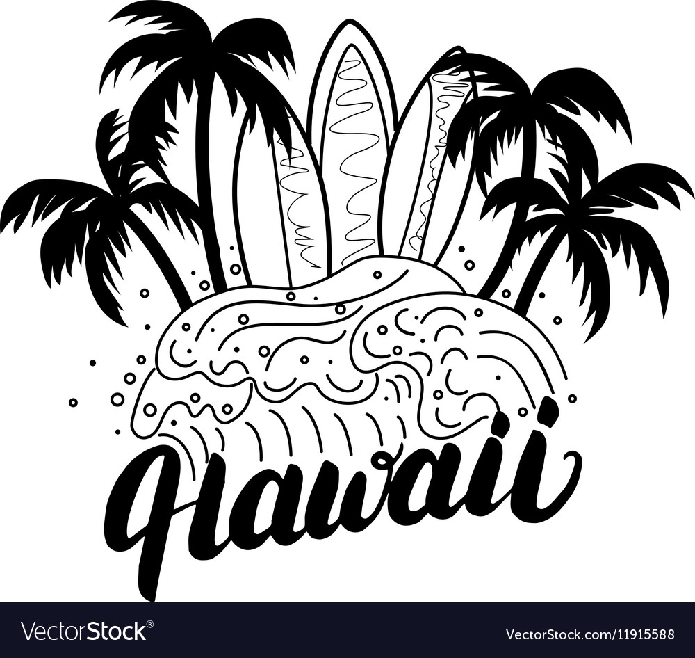 Hawaii hand lettering surf poster tee print