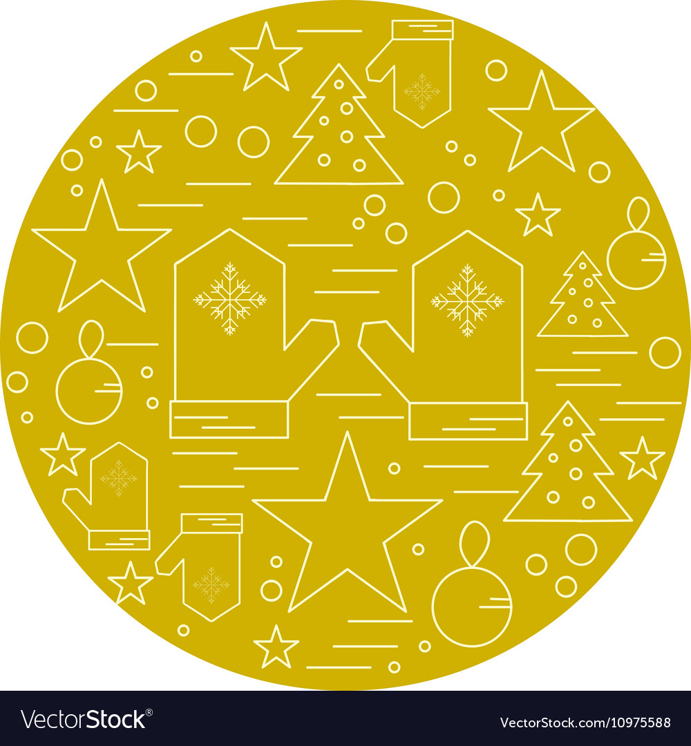 Line christmas icons set linear symbol