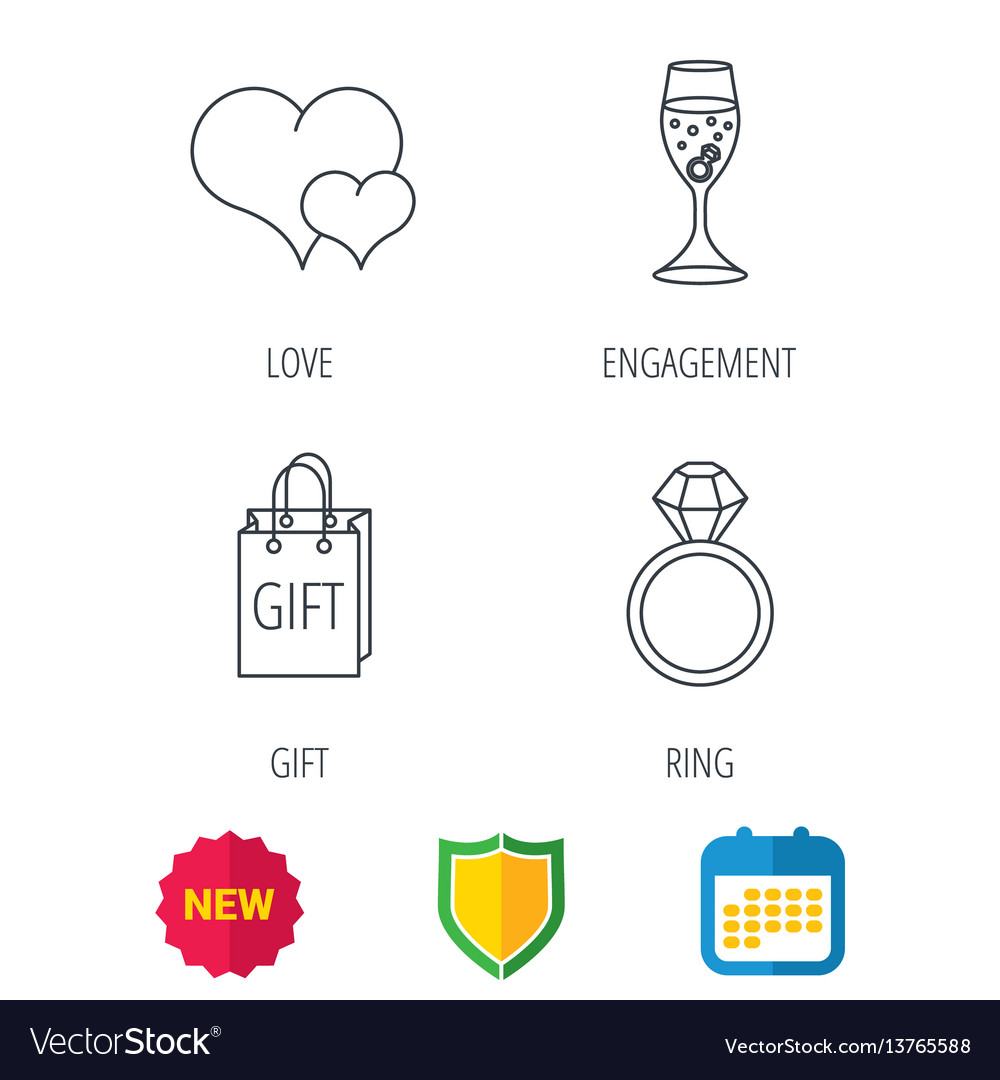 Love heart gift bag and wedding ring icons vector image ccuart Images