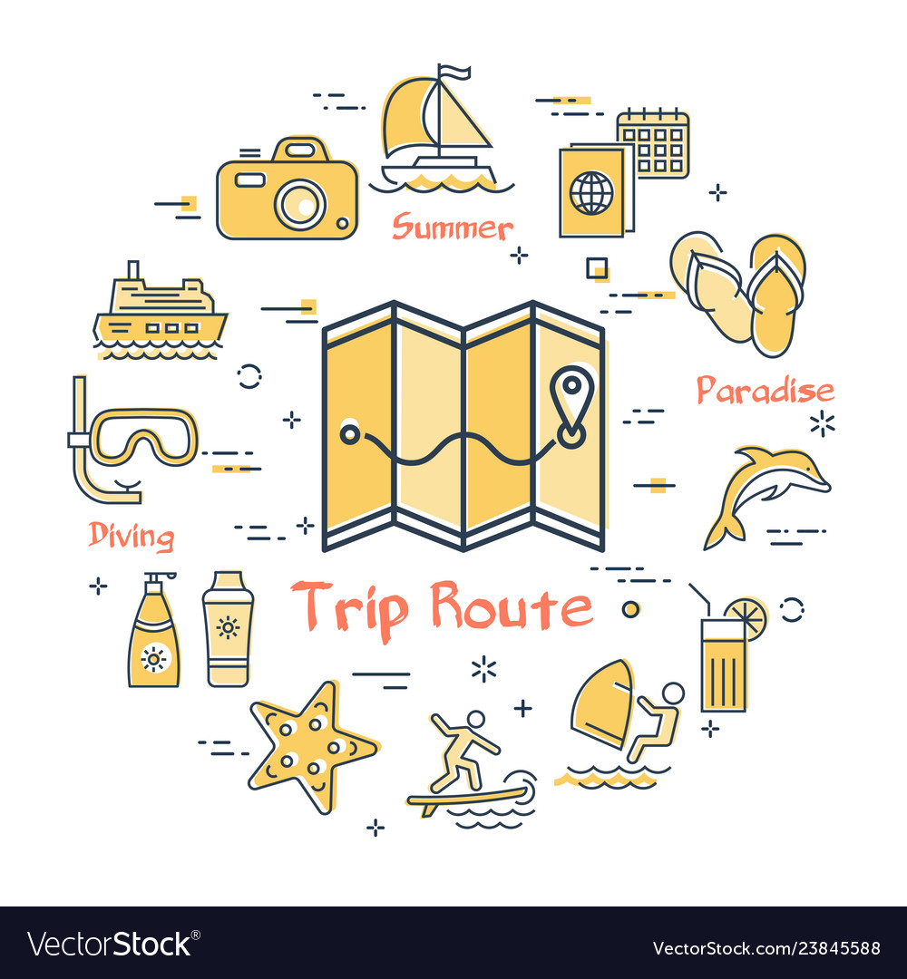 Map with route and summer vacation icons