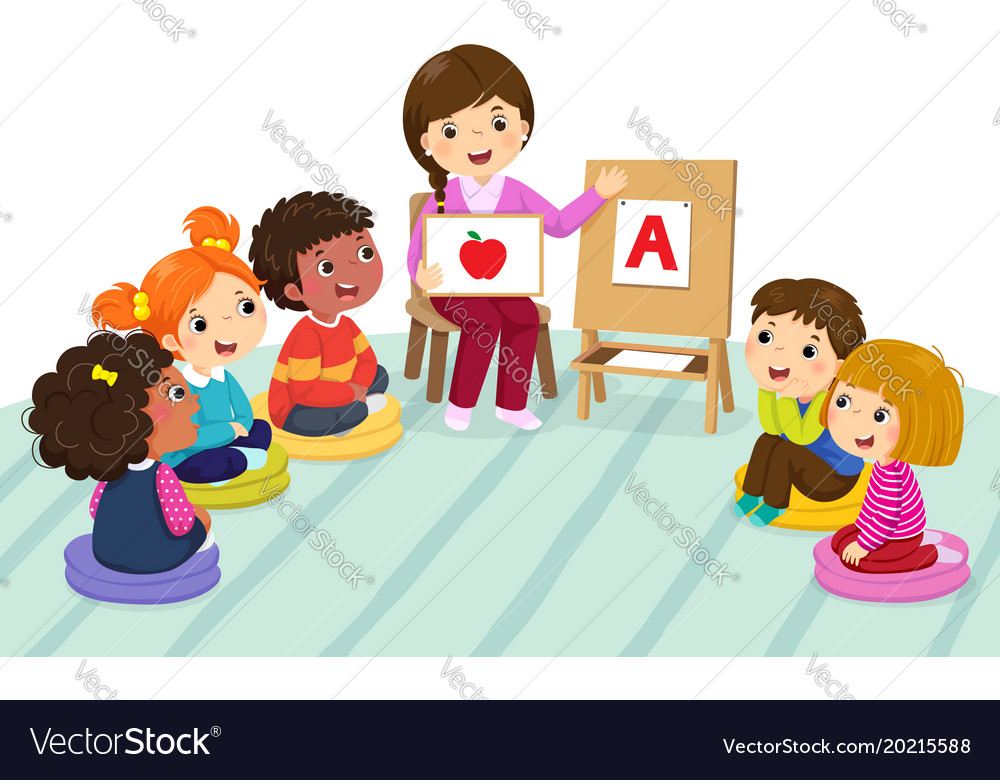 Preschool kids and teacher sitting on the floor